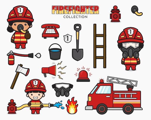 Metta la raccolta dell'illustrazione sveglia del clipart dell'icona del fumetto del vigile del fuoco e dell'attrezzatura. design piatto isolato in stile cartone animato