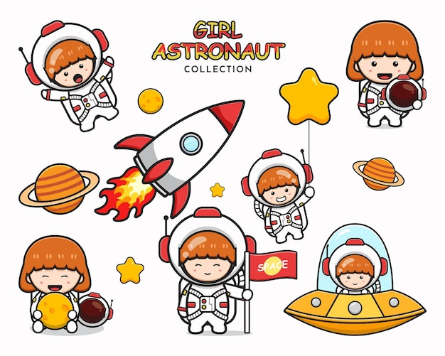 Impostare la raccolta di ragazza carina astronauta fumetto icona clip art illustrazione design piatto isolato in stile cartone animato