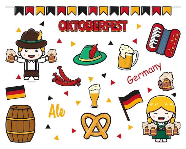 Impostare la raccolta di simpatici cartoni animati per la celebrazione dell'oktoberfest icona clip art illustrazione design piatto isolato in stile cartone animato