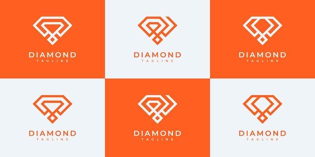 Set di modelli di progettazione del logo del diamante della collezione.