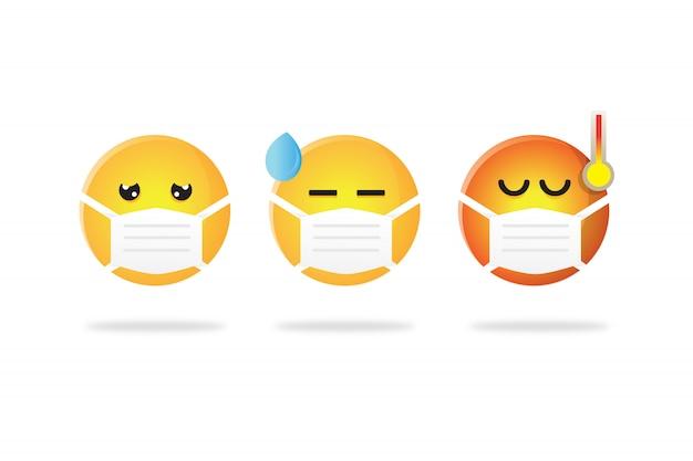 Impostare la raccolta di emoticon che indossa la maschera durante l'influenza corona
