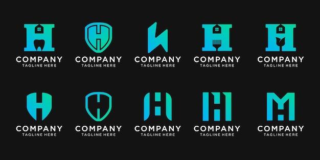 Insieme del logo della lettera iniziale h di raccolta con il concetto di casa e scudo.