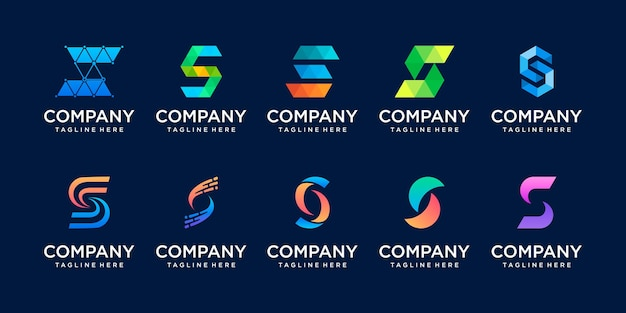 Set di raccolta lettera iniziale s logo modello.