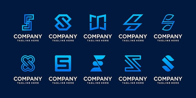 Set di raccolta lettera iniziale s ss logo modello.