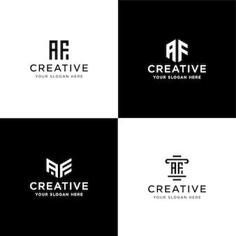 Set di iniziali di raccolta modello di progettazione logo af