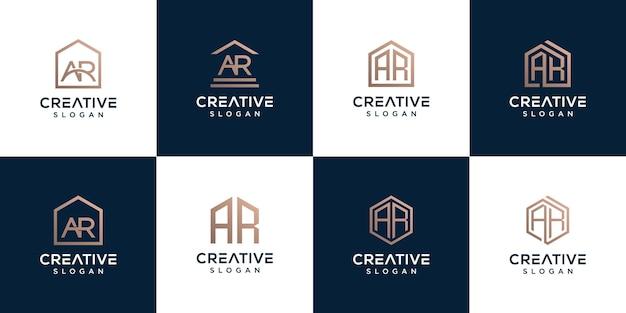 Set di combinazione di lettere ar logo di raccolta con la casa