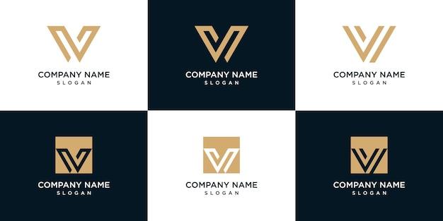 Set di collezione logo lettera v monogramma logo design. Vettore Premium