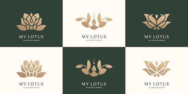 Impostare il modello del logo della collezione di loto design di lusso di colore dell'oro del loto del fiore astratto vettore premium premium