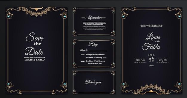 Impostare il design del modello di carta di invito matrimonio di lusso collezione