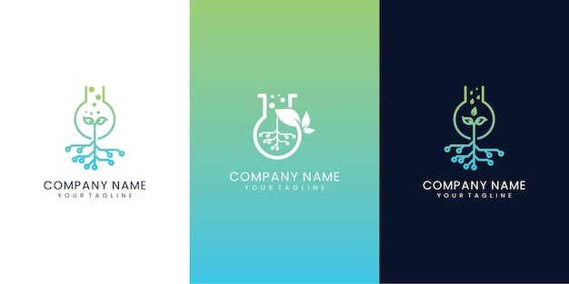 Set di tecnologia di combinazione di progettazione di logo di tecnologia di laboratorio di natura di raccolta