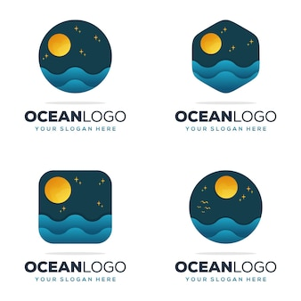 Impostare il design del logo dell'oceano della collezione