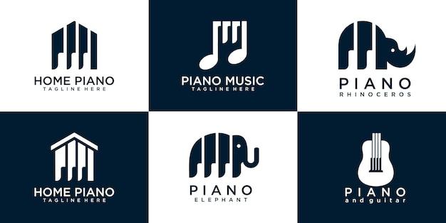 Set di modelli di progettazione logo pianoforte collezione premium vector