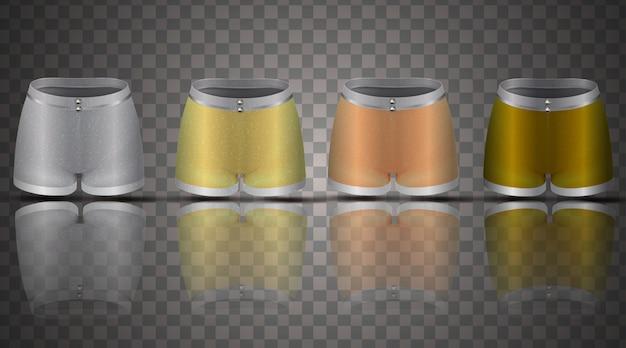 Impostare la raccolta pantaloncini donna vista frontale abbigliamento sportivo illustrazione 3d