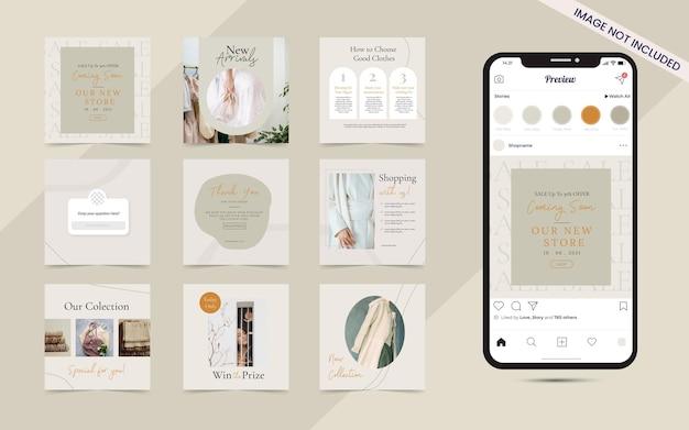 Impostare la raccolta di banner post instagram social media per la vendita di moda