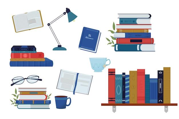 Imposta una pila di libri da scaffale in diverse viste lampada da tavolo con vetri aperti e chiusi