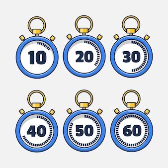 Set di raccolta di illustrazioni di icona del cronometro
