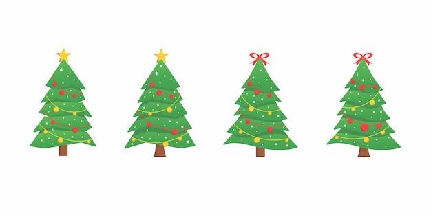 Set di raccolta albero natale design piatto bundle icona logo
