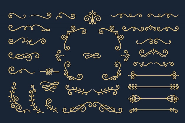 Set collection of vintage ornament elements