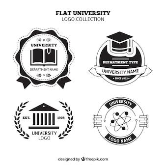 Insieme dei marchi del college in bianco e nero