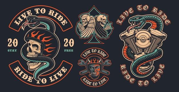 Set di toppe da motociclista a colori su uno sfondo scuro. queste illustrazioni vettoriali sono perfette per design di abbigliamento, loghi e molti altri usi.