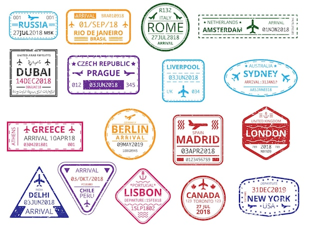 Set di timbri personalizzati con bordo a colori nel passaporto isolato su sfondo bianco