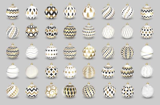 Set di palle di natale di colore su sfondo bianco, illustrazione.