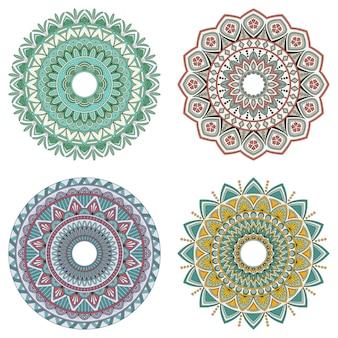 Set di mandala floreali a colori, illustrazione vettoriale