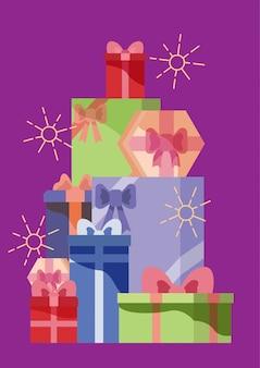 Set di scatola regalo di colore, illustrazione di cartone animato in stile piano