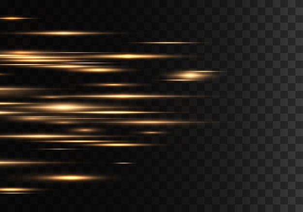 Set di raggi orizzontali di colore, lenti, linee. raggi laser.