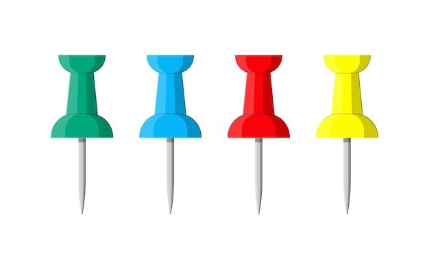 Set di puntine colorate. puntina da disegno in plastica, puntina da disegno. strumenti per l'istruzione e il lavoro. illustrazione di cancelleria e articoli per ufficio in stile piano