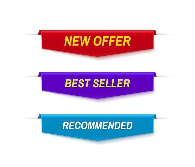 Set di banner di vendita di colore. nuova offerta, banner best seller