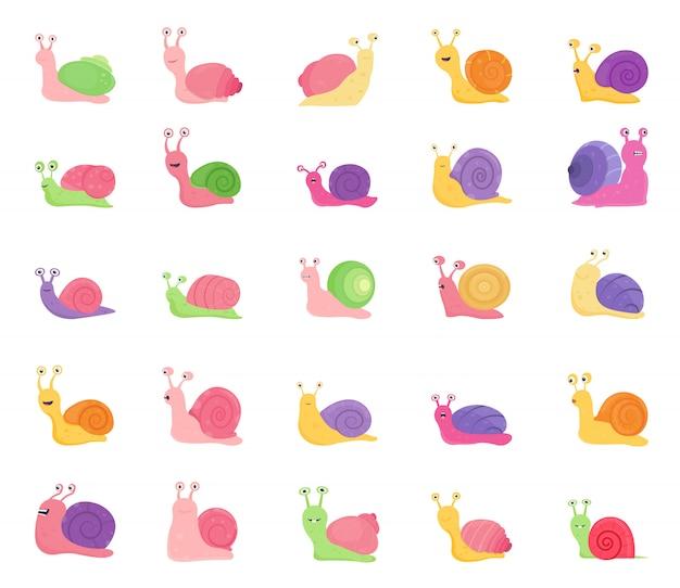 Set di icone di lumaca di colore isolato su sfondo bianco