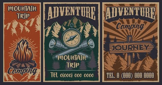 Set di poster vintage a colori sul tema del campeggio. vettore