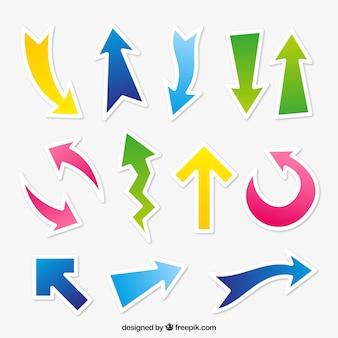 Set di adesivi freccia colorata