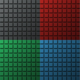 Set di sfondi colorati per un sito, un banner o un poster con quadrati che fluttuano nell'aria e proiettano un'ombra.