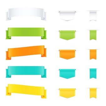 Set di illustrazione di nastri in bianco colorati