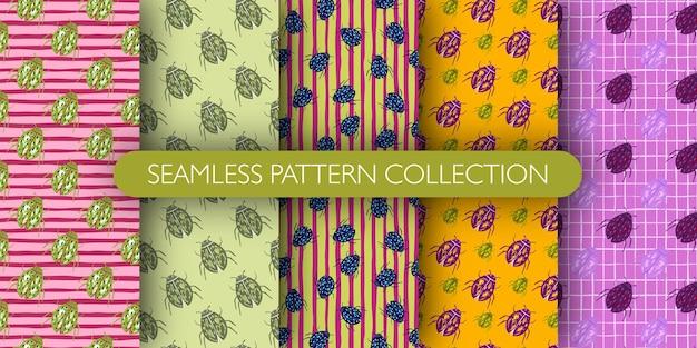 Insieme del reticolo botanico senza cuciture delle siluette colorate degli insetti. collezione di stampe di insetti doodle