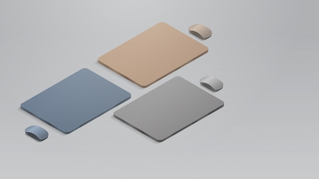 Impostare laptop chiusi colorati con gadget e dispositivi mockup realistici del mouse