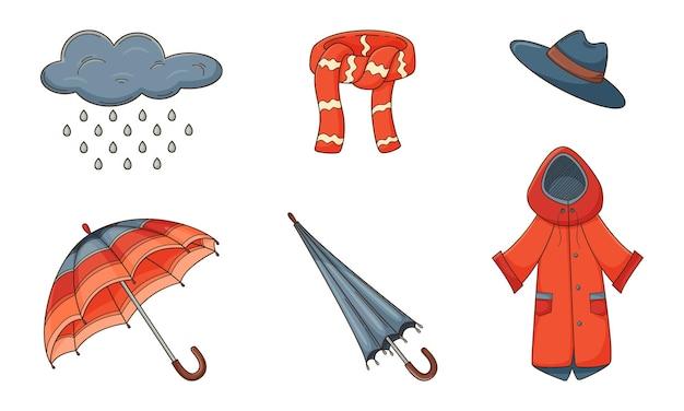 Una serie di scarabocchi colorati. elementi decorativi autunnali con contorno e riempimento.