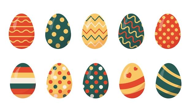 Set di uova di pasqua colorate su sfondo bianco.