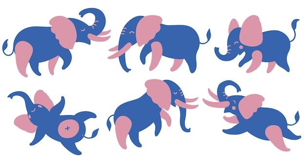 Set di elefanti colorati elefanti simpatici cartoni animati in diverse pose