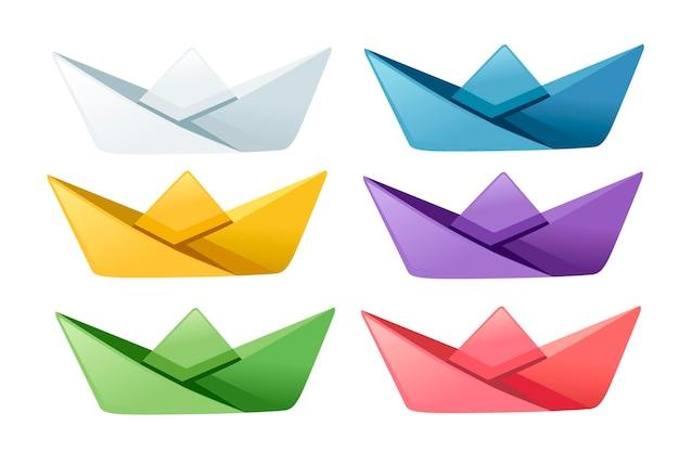 Set di barche di carta piegate colorate piatto illustrazione vettoriale isolato su sfondo bianco.