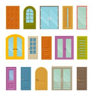 Set di porte chiuse frontali colorate per case ed edifici. con e senza vetro. illustrazione.