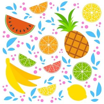 Un insieme di deliziosi frutti colorati isolati