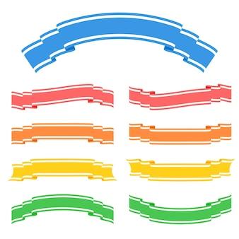 Set di nastri colorati banner isolato su bianco