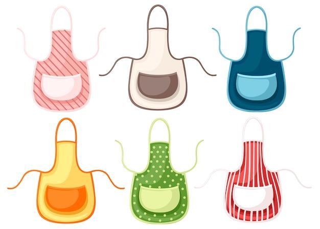 Set di grembiule da cucina colorato. illustrazione su sfondo bianco.