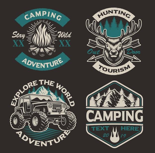 Set di loghi colorati per il tema del campeggio. perfetto per poster, abbigliamento, magliette e molti altri. stratificato