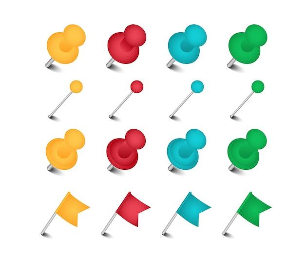 Set di pennarello colorato, pin, puntina da disegno appuntata con bandiera.