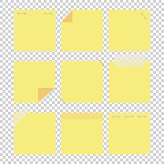 Una serie di adesivi gialli colorati per ufficio.