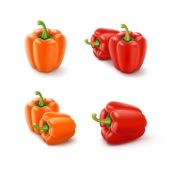 Insieme dei peperoni dolci bulgari dolci arancio e rossi colorati, paprica isolata su fondo bianco